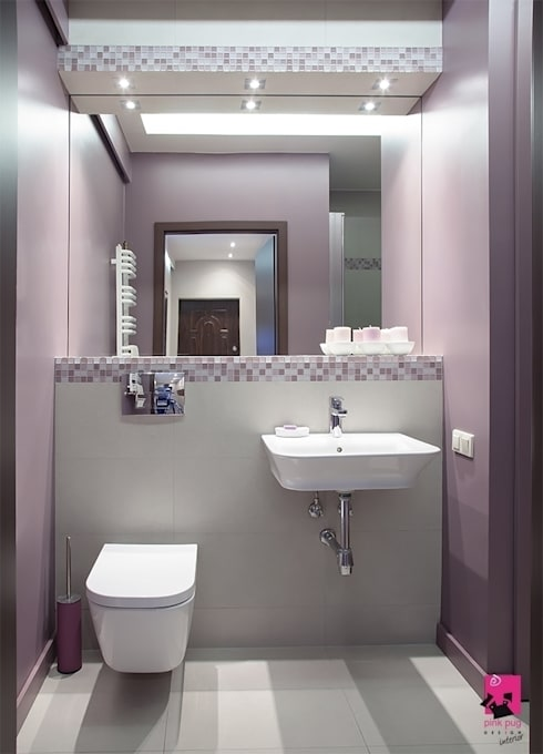 Mieszkanie w Łodzi - 48m2: styl , w kategorii Łazienka zaprojektowany przez Pink Pug Design Interior