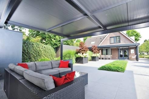 Vrijstaande woning met uitzicht over het landschap : moderne Tuin door Hendriks Hoveniers