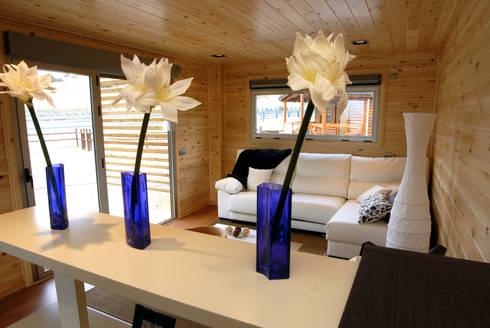 Comunicación salón con pérgola exterior Natura Blu 111: Salones de estilo moderno de Casas Natura