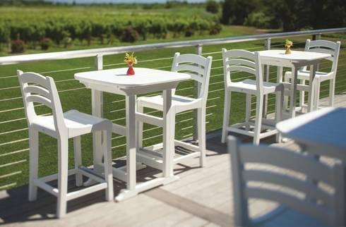 CASA BRUNO mesas Portsmouth y sillas Charleston con altura balcón, fabricadas en poly-madera.: Locales gastronómicos de estilo  de Casa Bruno American Home Decor
