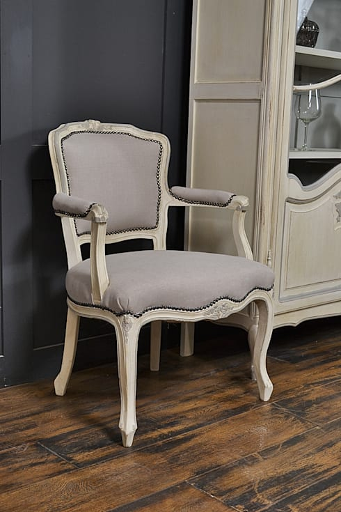 Pair of French Louis Style Chairs in Old White & Paris Grey: classic Living room by The Treasure Trove Shabby Chic & Vintage Furniture