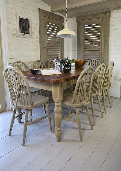shabby chic dining sets. Rustic Shabby Chic Dining Table With 8 Wheelback Chairs Sets