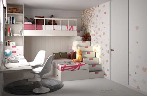 Dormitorio juvenil Irene y Natalia.: Dormitorios de estilo mediterráneo de Ideas Interiorismo Exclusivo, SLU