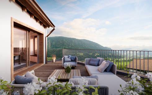 Terrazas de estilo  por von Mann Architektur GmbH