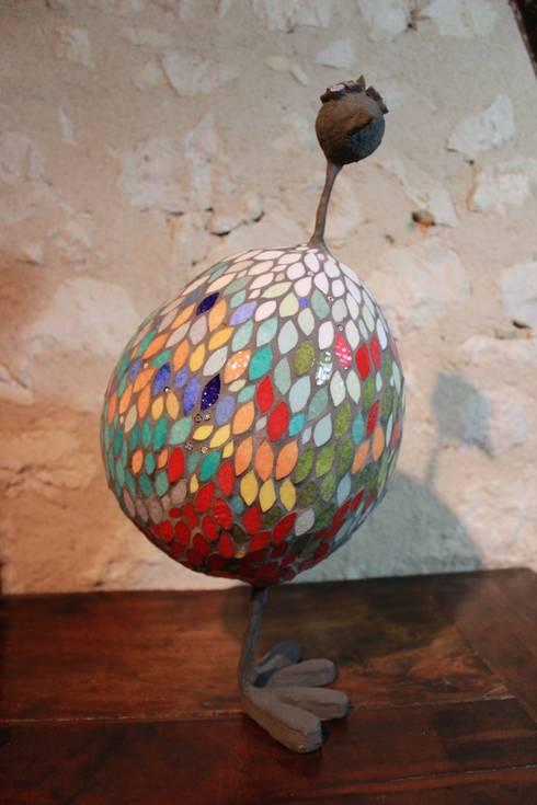 Poule en mosaïque - Sculpture: Art de style  par Mosa-Louisa
