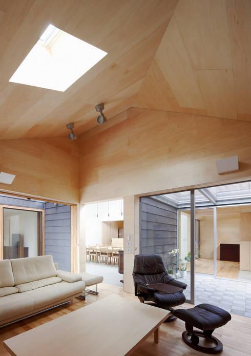 八木山のハウス: 齋藤和哉建築設計事務所が手掛けたリビングです。