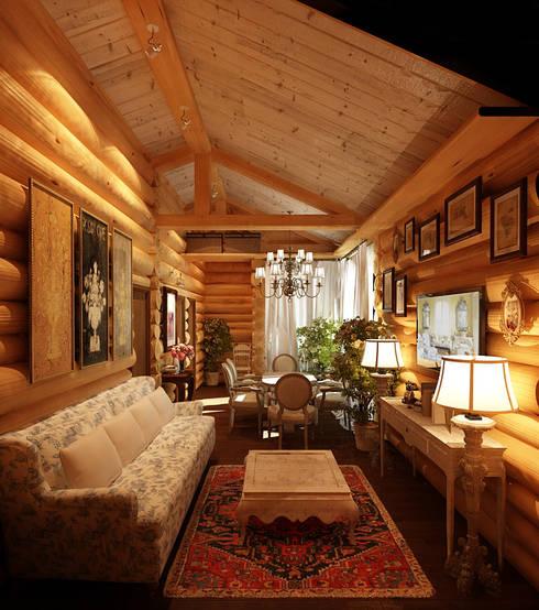 Дизайн частного дома в поселке закрытого типа. Anarchi&И.Мальцев: Гостиная в . Автор – AnARCHI