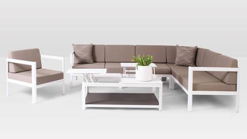 Aurora Garten Loungeset weiss Aluminium inkl. Kissen von Oltre ...