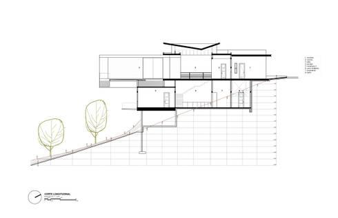 Corte Longitudinal:  de estilo  por Diez y Nueve Grados Arquitectos
