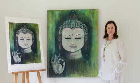 Emerald Mudra Buddha:  Artwork by Clare Haxby Art Studio