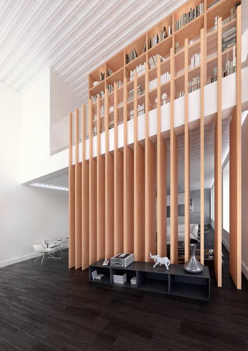 Atrio de entrada: Salones de estilo moderno de lacooperativaarquitectos
