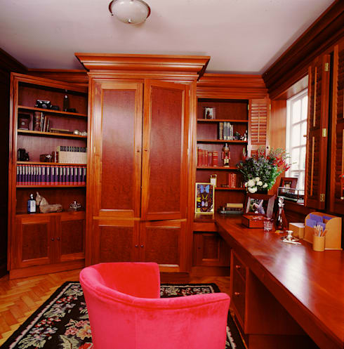 Study with Train and Hidden Door designed and made by Tim Wood: colonial Study/office by Tim Wood Limited