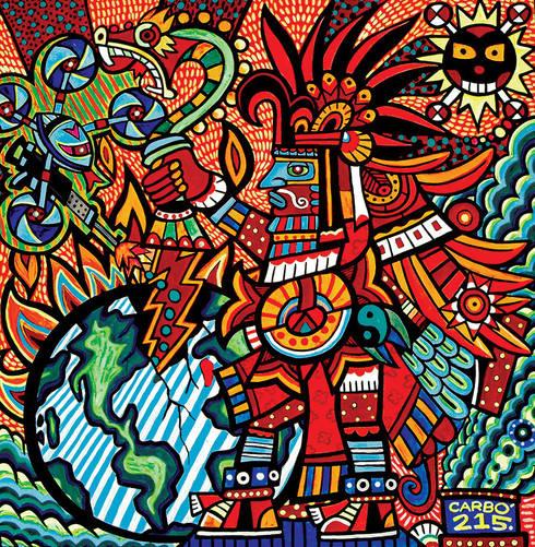 Huitzilopochtli y la conquista de la batalla interior: Arte de estilo  por Jimmy Carbo