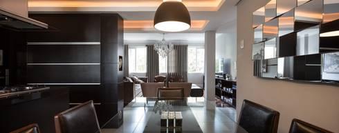 ACT | Estar, Jantar e Cozinha Integrados: Salas de jantar modernas por Kali Arquitetura