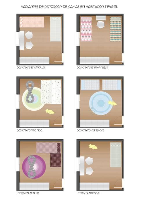 Ideas útiles para amueblar una habitación infantil compartida: Dormitorios infantiles de estilo moderno de MRN