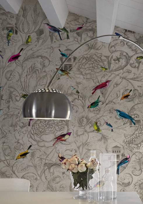 Katmandu Mural wallpaper: Paredes y suelos de estilo colonial de Tres Tintas Barcelona