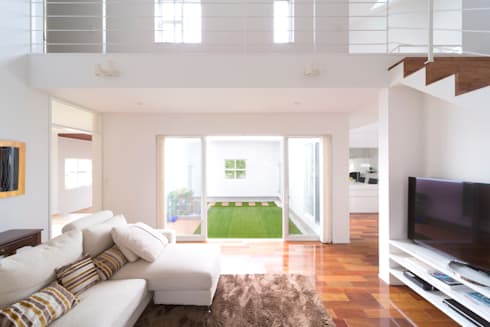 蔵波・HOUSE・T(KURANAMI・HOUSE・T): 吉田裕一建築設計事務所が手掛けたリビングです。