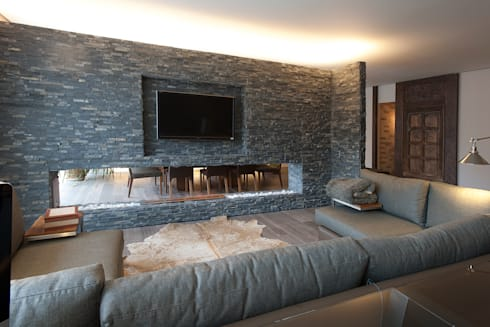 Departamento DL: Salas de estilo moderno por kababie arquitectos