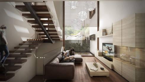 Rancho San Juan: Salas de estilo moderno por Pure Design