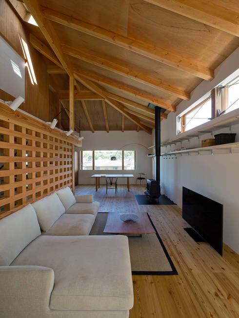 谷間の家: 株式会社 長野総合建築事務所が手掛けたリビングです。