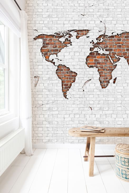 Worldmap Brick:  Slaapkamer door BN International