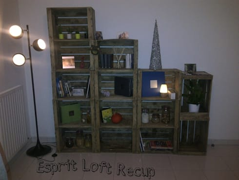 bibliotheques caisse a pomme par esprit loft recup homify. Black Bedroom Furniture Sets. Home Design Ideas
