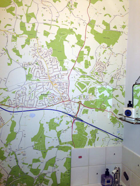 Custom Map Wallpaper Installed In The Bathroom Eclectic By Wallpapered