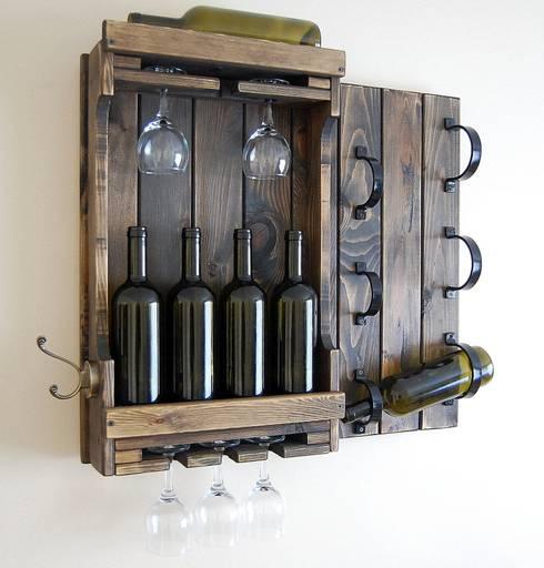 RusticWoodenArt – Butik şarap rafı - Cool:  tarz İç Dekorasyon