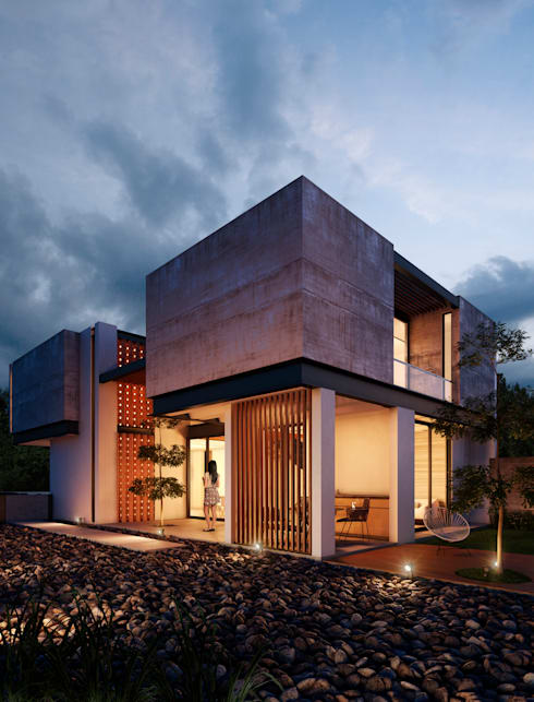 Fachada Posterior: Casas de estilo minimalista por BANG arquitectura