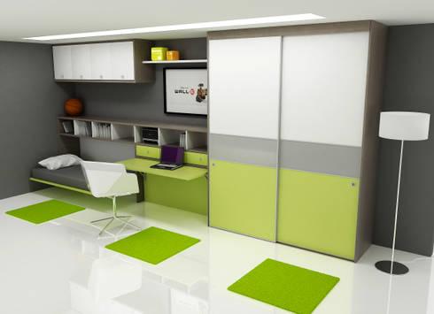 Habitación juvenil cama abierta.: Dormitorios de estilo moderno de FORATS CALVET
