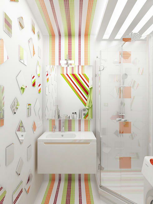 Игра цвета в зеркалах: Ванные комнаты в . Автор – Дизайн студия Александра Скирды ВЕРСАЛЬПРОЕКТ