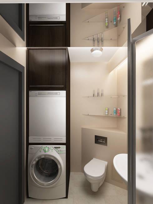 Переработка квартиры 1962 года: Ванные комнаты в . Автор – Дизайн студия Александра Скирды ВЕРСАЛЬПРОЕКТ