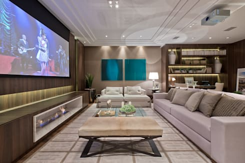 Estar Íntimo: Salas multimídia minimalistas por Viviane Loyola Arquitetura e Interiores