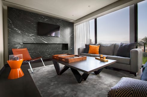 Departamento D-CH: Salas de estilo moderno por Concepto Taller de Arquitectura