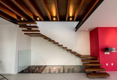 Escaleras y acceso a la cava: Pasillos y recibidores de estilo  por BANG arquitectura