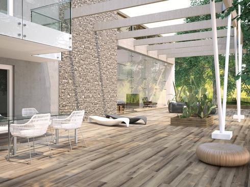 Casona Gris Porcelánico imitación a madera: Terrazas de estilo  de INTERAZULEJO