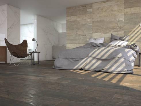 Brasilia Porcelánico imitación a madera: Dormitorios de estilo industrial de INTERAZULEJO