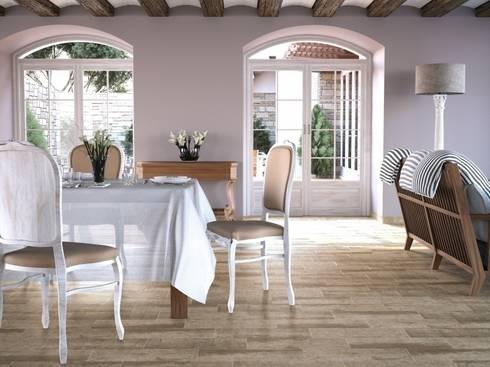 Ayous Gres imitación a madera: Comedores de estilo mediterráneo de INTERAZULEJO