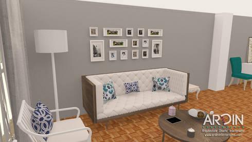 PROYECTO DALLAS: Salas de estilo ecléctico por ARDIN INTERIORISMO