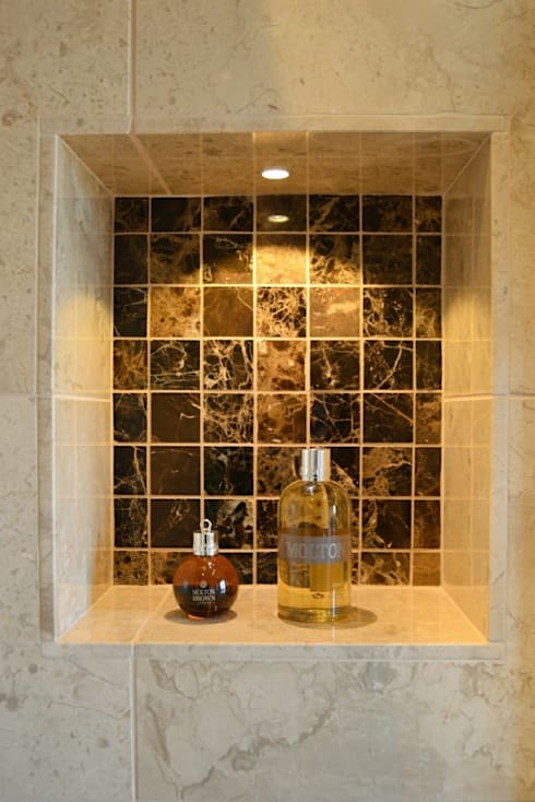 Shower Niche tiled in Marron Polished Marble Mosaic Tiles:  Bathroom by Loveridge Kitchens & Bathrooms
