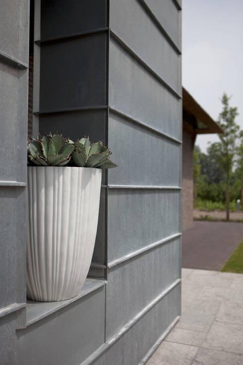 Capi Lux - Vaas elegant laag Tube Wit: modern Balkon, veranda & terras door Capi Europe