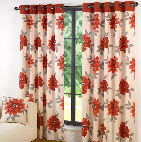 Design Annabella Red Ring Top Curtains:  Living room by Century Mills