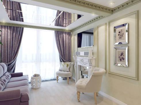 Атмосфера весны в однокомнатной квартире: Гостиная в . Автор – Volkovs studio