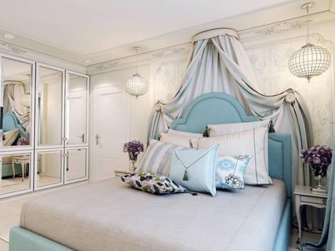 Атмосфера весны в однокомнатной квартире: Спальни в . Автор – Volkovs studio