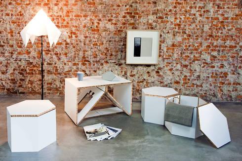 AXIOMA: Salones de estilo escandinavo de CARDBOARD FURNITURE AND PROJECTS