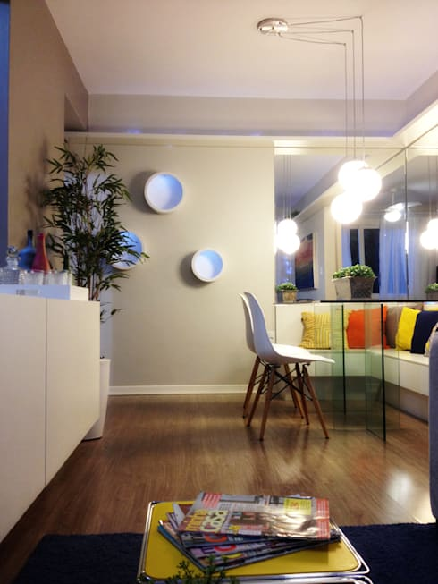 PROJETO SALA APARTAMENTO MB – Tristeza/ Porto Alegre: Salas de jantar ecléticas por Ambientta Arquitetura