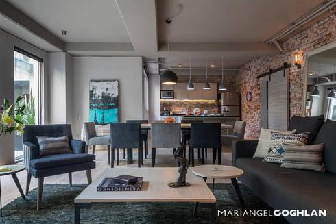 Sala : Salas de estilo industrial por MARIANGEL COGHLAN