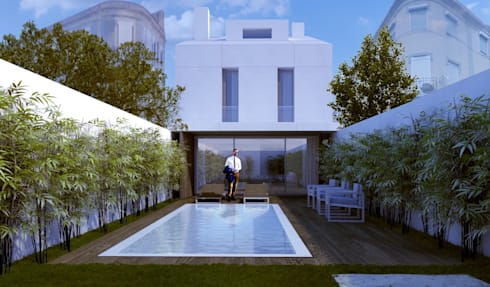 Fachada Tardoz: Casas minimalistas por HRA-Lisboa