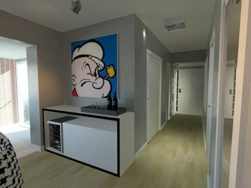 Sala de Estar P&B: Salas de estar modernas por Projeto Bem Bolado