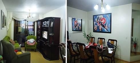 Sala estar e jantar - antes da reforma:   por Ésse Arquitetura e Interiores